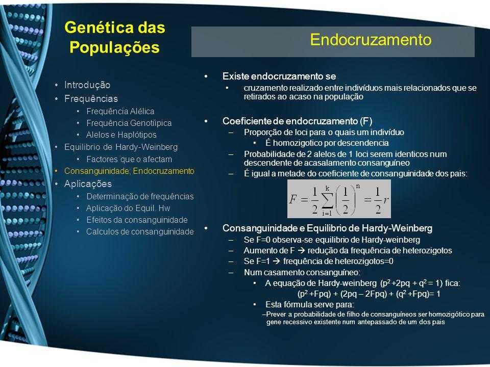 Genética das Populações Existe endocruzamento se cruzamento realizado entre indivíduos mais relacionados que se retirados ao acaso na população Coefic