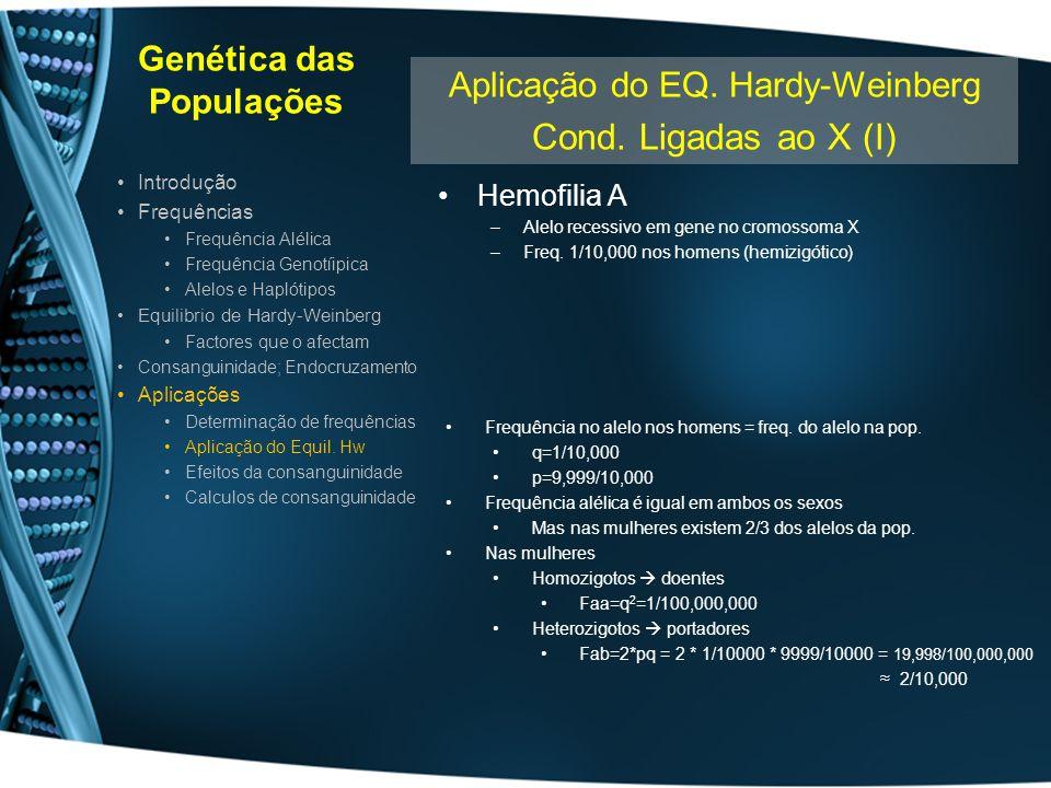Genética das Populações Hemofilia A –Alelo recessivo em gene no cromossoma X –Freq. 1/10,000 nos homens (hemizigótico) Introdução Frequências Frequênc