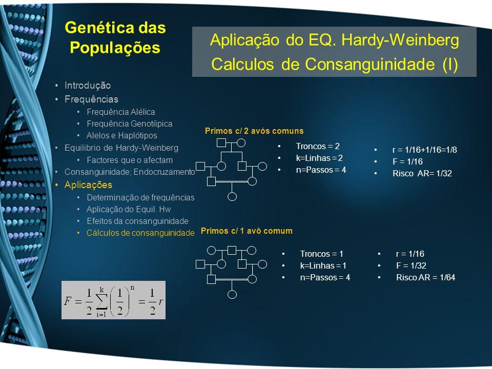 Genética das Populações Introdução Frequências Frequência Alélica Frequência Genotíipica Alelos e Haplótipos Equilibrio de Hardy-Weinberg Factores que