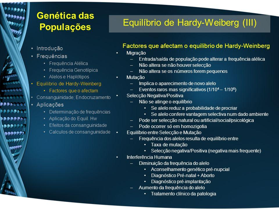 Genética das Populações Factores que afectam o equilibrio de Hardy-Weinberg Deriva Genética –Fixação de alelos numa pequena população isolada Alelos existentes noutras populações não chegam a instalar-se Ao fim de algumas gerações a população tem equilíbrio diferente da pop.