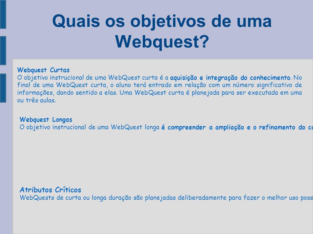 Quais os objetivos de uma Webquest? Webquest Curtas O objetivo instrucional de uma WebQuest curta é a aquisição e integração do conhecimento. No final