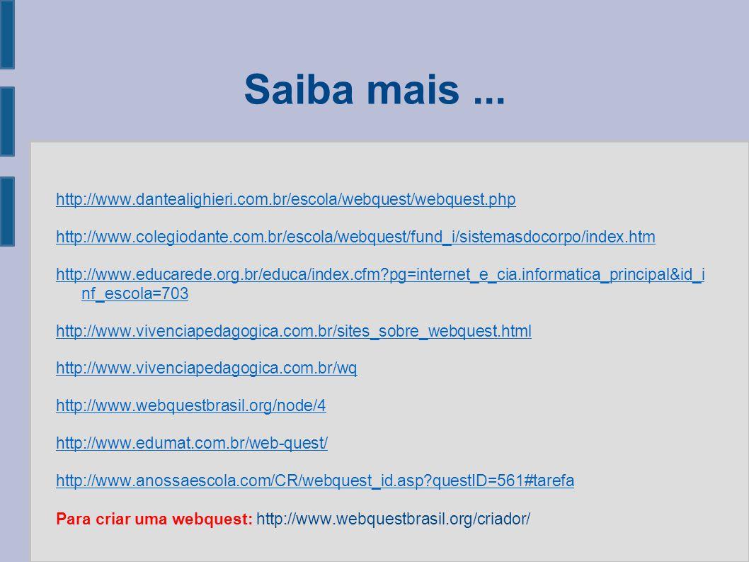 Saiba mais... http://www.dantealighieri.com.br/escola/webquest/webquest.php http://www.colegiodante.com.br/escola/webquest/fund_i/sistemasdocorpo/inde