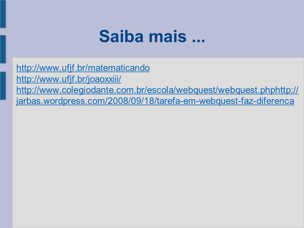 Saiba mais... http://www.ufjf.br/matematicando http://www.ufjf.br/joaoxxiii/ http://www.colegiodante.com.br/escola/webquest/webquest.phphttp:// jarbas