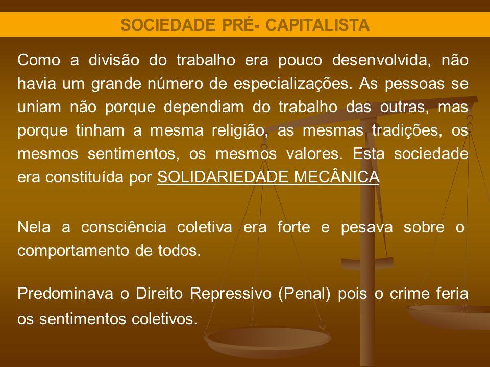 SOCIEDADE PRÉ- CAPITALISTA Como a divisão do trabalho era pouco desenvolvida, não havia um grande número de especializações. As pessoas se uniam não p