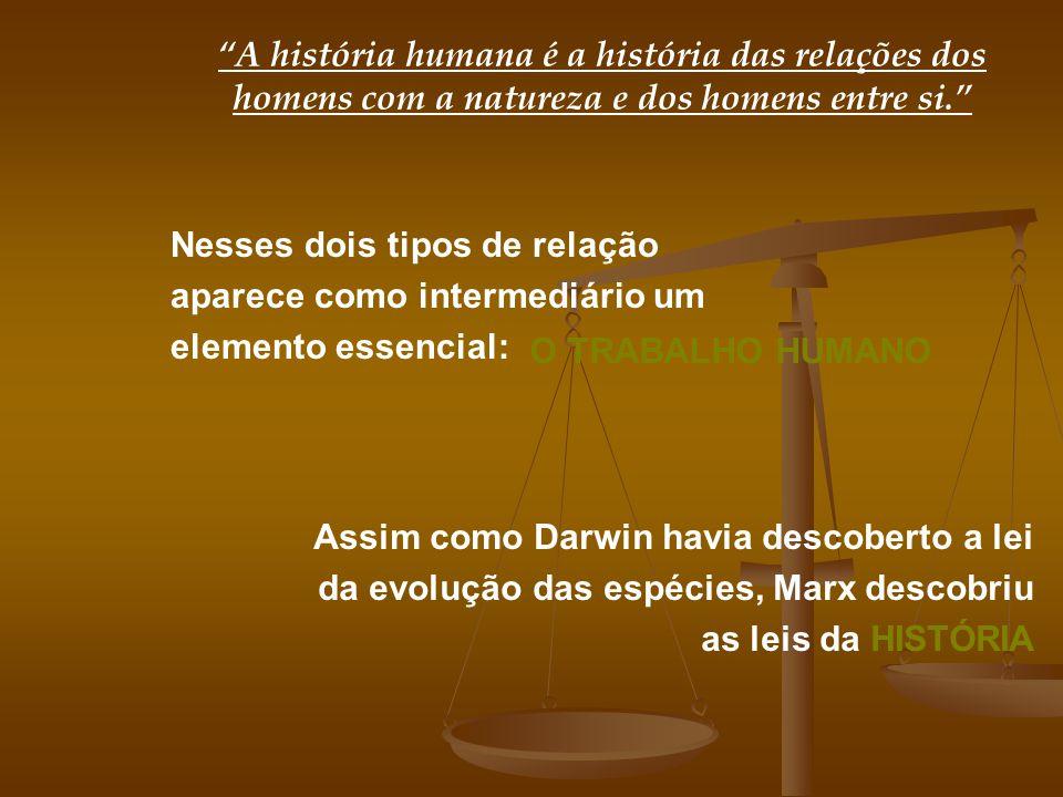 A história humana é a história das relações dos homens com a natureza e dos homens entre si. Nesses dois tipos de relação aparece como intermediário u