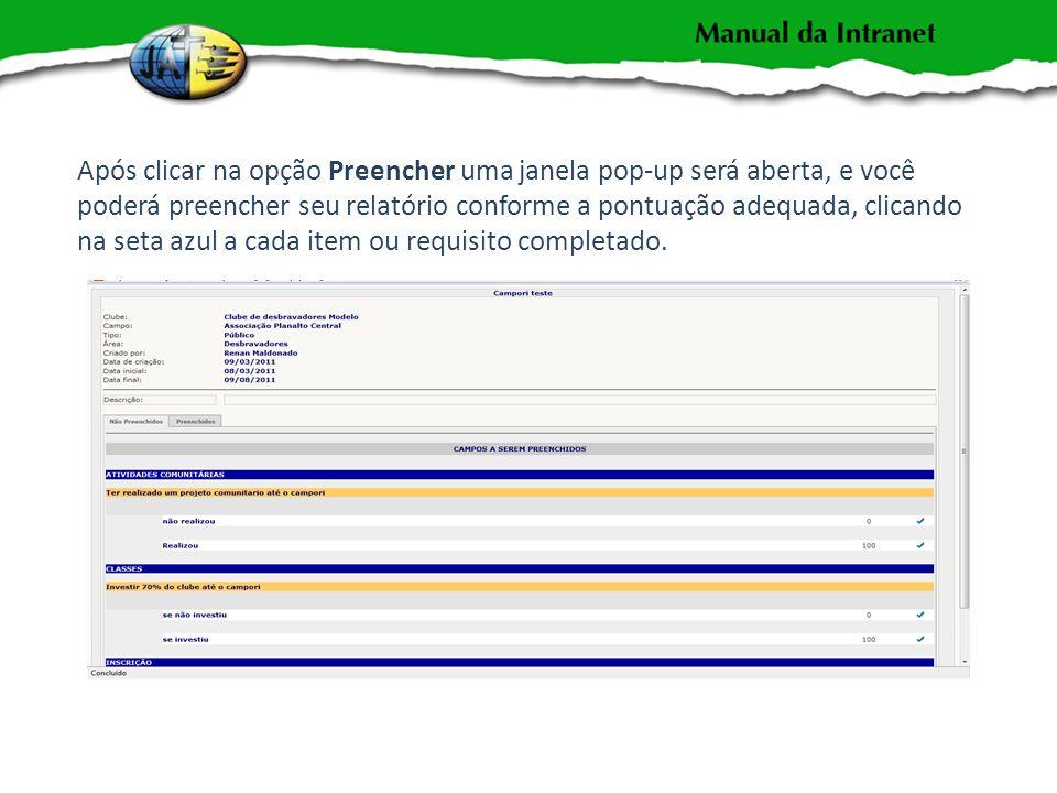 Após clicar na opção Preencher uma janela pop-up será aberta, e você poderá preencher seu relatório conforme a pontuação adequada, clicando na seta azul a cada item ou requisito completado.