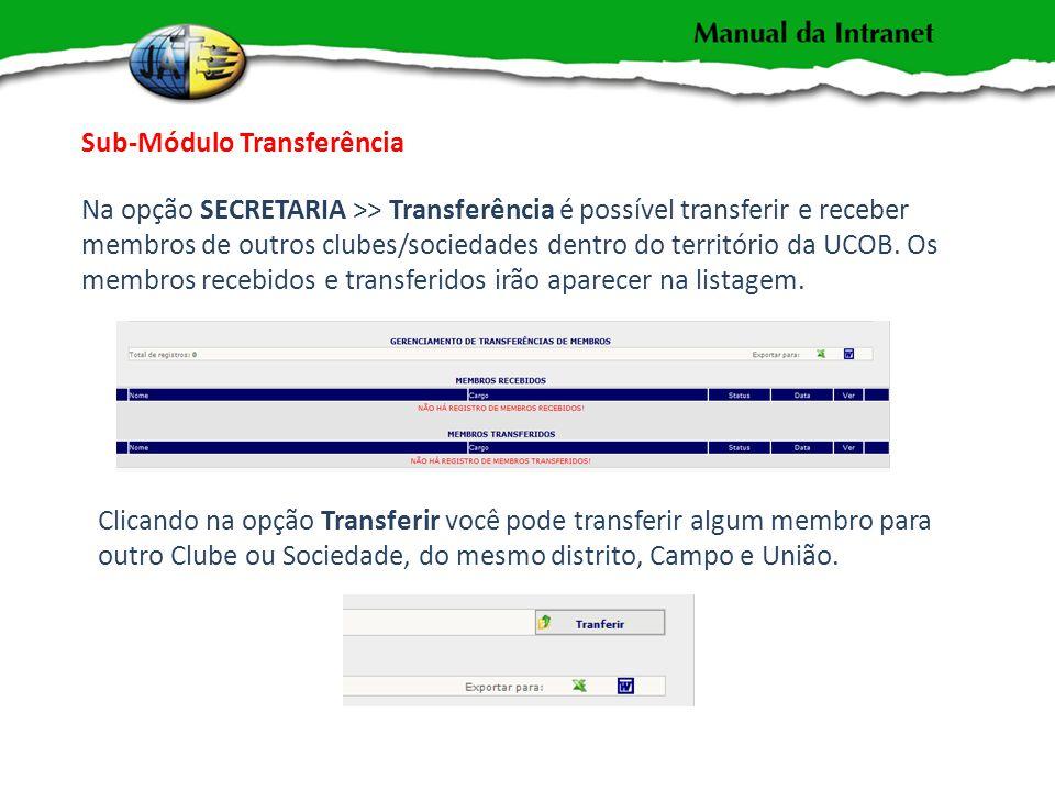 Sub-Módulo Transferência Na opção SECRETARIA >> Transferência é possível transferir e receber membros de outros clubes/sociedades dentro do território da UCOB.