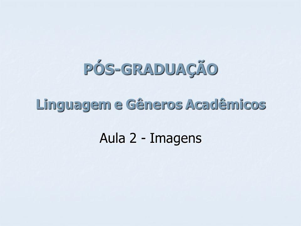 PÓS-GRADUAÇÃO Linguagem e Gêneros Acadêmicos Aula 2 - Imagens