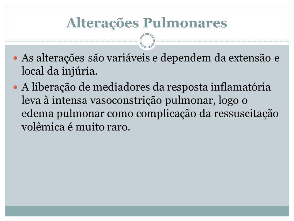 Alterações Pulmonares As alterações são variáveis e dependem da extensão e local da injúria. A liberação de mediadores da resposta inflamatória leva à