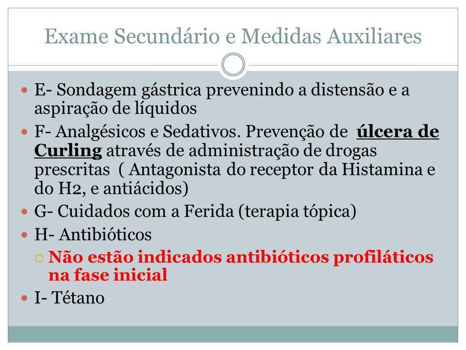 Exame Secundário e Medidas Auxiliares E- Sondagem gástrica prevenindo a distensão e a aspiração de líquidos F- Analgésicos e Sedativos.