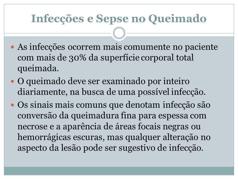 Infecções e Sepse no Queimado As infecções ocorrem mais comumente no paciente com mais de 30% da superfície corporal total queimada. O queimado deve s