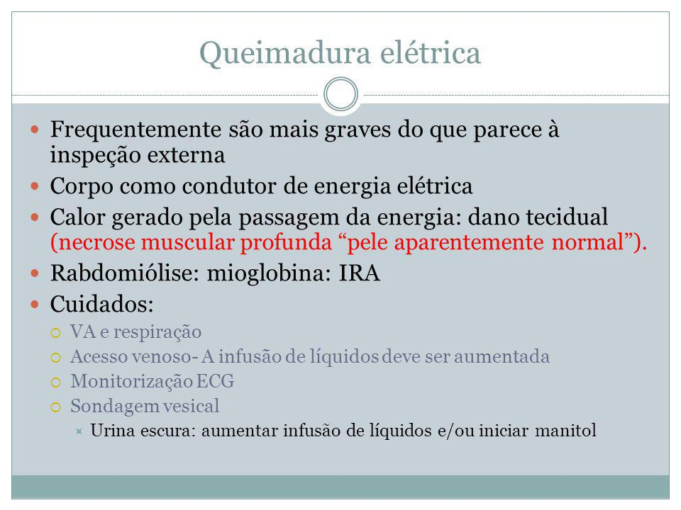 Queimadura elétrica Frequentemente são mais graves do que parece à inspeção externa Corpo como condutor de energia elétrica Calor gerado pela passagem