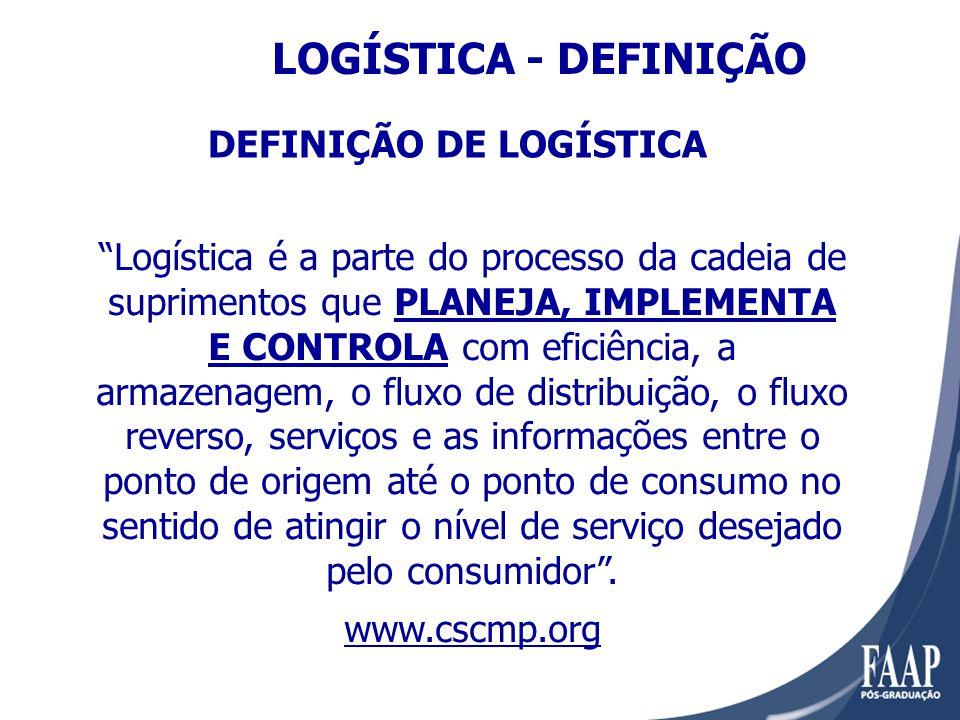 Logística é a parte do processo da cadeia de suprimentos que PLANEJA, IMPLEMENTA E CONTROLA com eficiência, a armazenagem, o fluxo de distribuição, o fluxo reverso, serviços e as informações entre o ponto de origem até o ponto de consumo no sentido de atingir o nível de serviço desejado pelo consumidor.