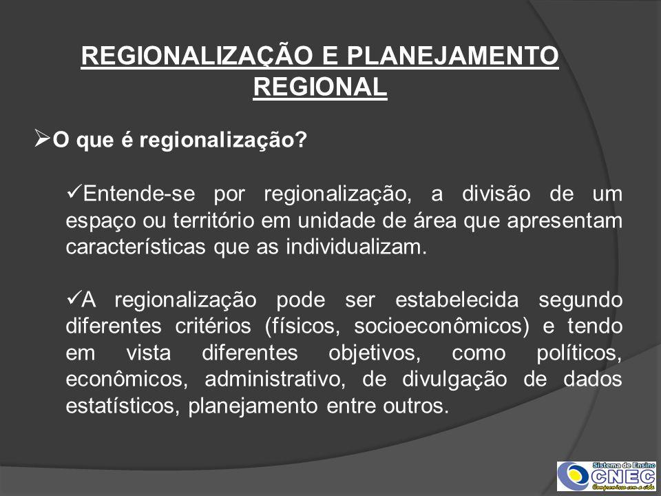 REGIONALIZAÇÃO E PLANEJAMENTO REGIONAL O que é regionalização? Entende-se por regionalização, a divisão de um espaço ou território em unidade de área