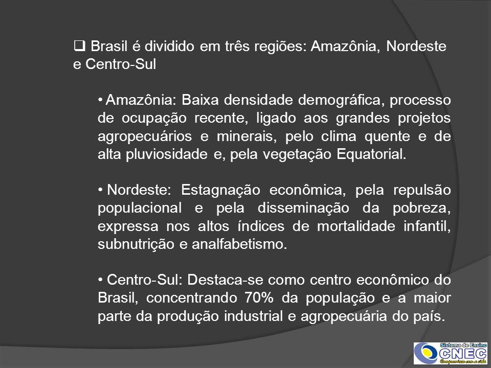 Brasil é dividido em três regiões: Amazônia, Nordeste e Centro-Sul Amazônia: Baixa densidade demográfica, processo de ocupação recente, ligado aos gra