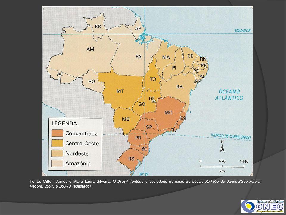 Fonte: Milton Santos e María Laura Silveira. O Brasil: teritório e sociedade no inicio do século XXI,Rio de Janeiro/São Paulo: Record, 2001. p.268-73