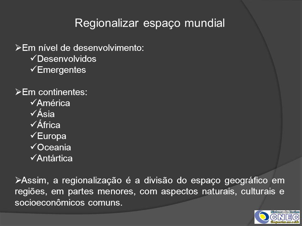 Regionalizar espaço mundial Em nível de desenvolvimento: Desenvolvidos Emergentes Em continentes: América Ásia África Europa Oceania Antártica Assim,
