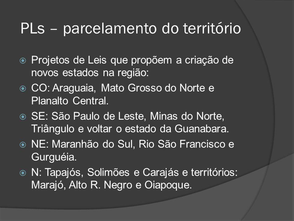 PLs – parcelamento do território Projetos de Leis que propõem a criação de novos estados na região: CO: Araguaia, Mato Grosso do Norte e Planalto Cent
