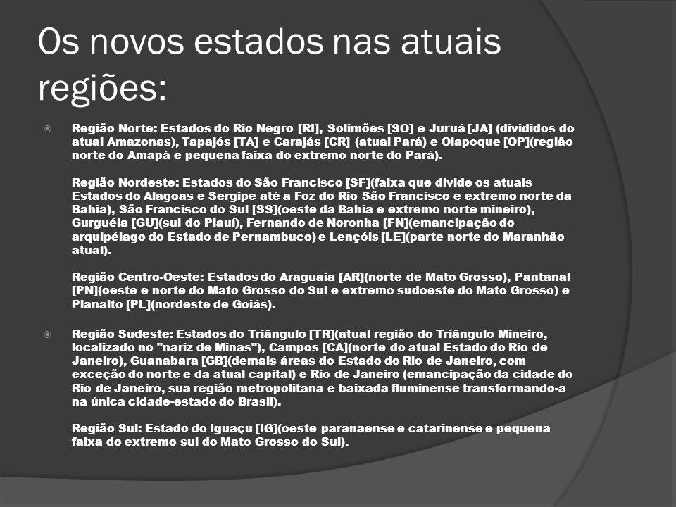 Os novos estados nas atuais regiões: Região Norte: Estados do Rio Negro [RI], Solimões [SO] e Juruá [JA] (divididos do atual Amazonas), Tapajós [TA] e
