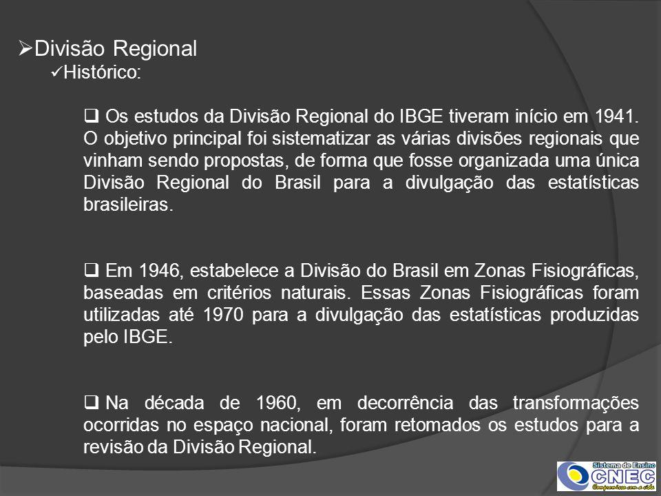 Divisão Regional Histórico: Os estudos da Divisão Regional do IBGE tiveram início em 1941. O objetivo principal foi sistematizar as várias divisões re