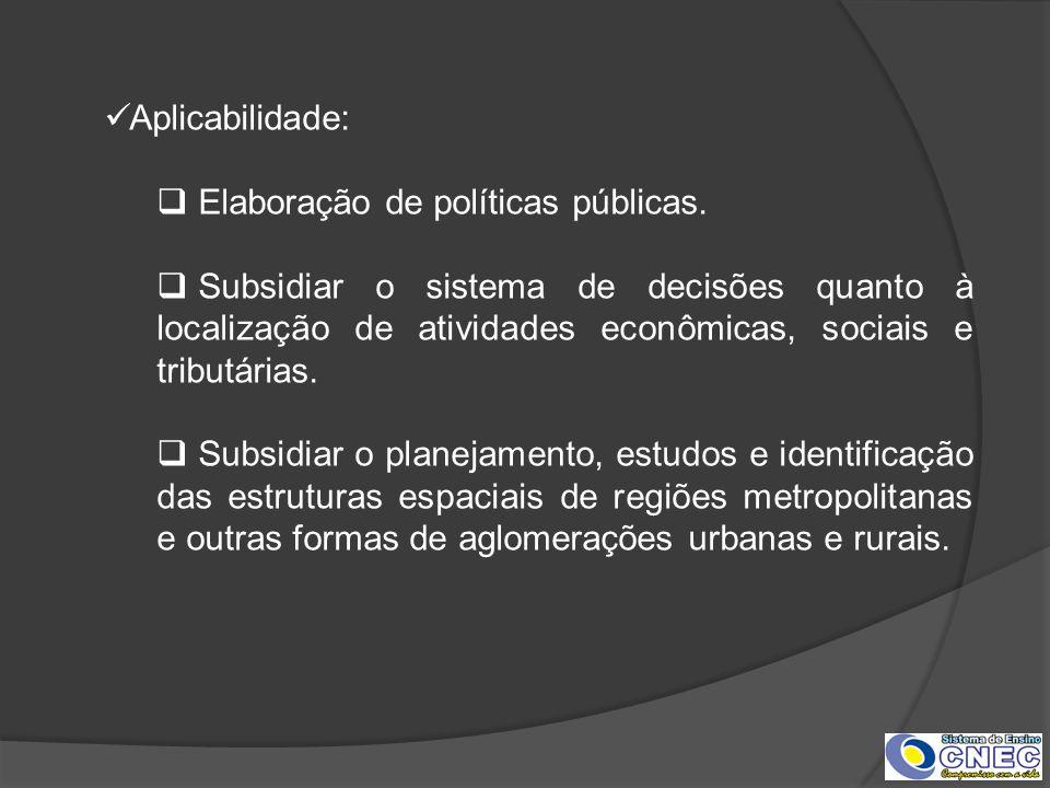 Aplicabilidade: Elaboração de políticas públicas. Subsidiar o sistema de decisões quanto à localização de atividades econômicas, sociais e tributárias