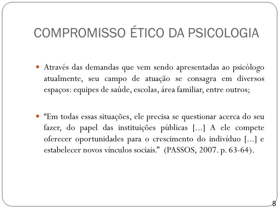 COMPROMISSO ÉTICO DA PSICOLOGIA Através das demandas que vem sendo apresentadas ao psicólogo atualmente, seu campo de atuação se consagra em diversos