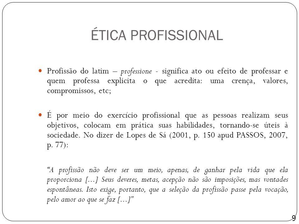 ÉTICA PROFISSIONAL Profissão do latim – professione - significa ato ou efeito de professar e quem professa explicita o que acredita: uma crença, valor