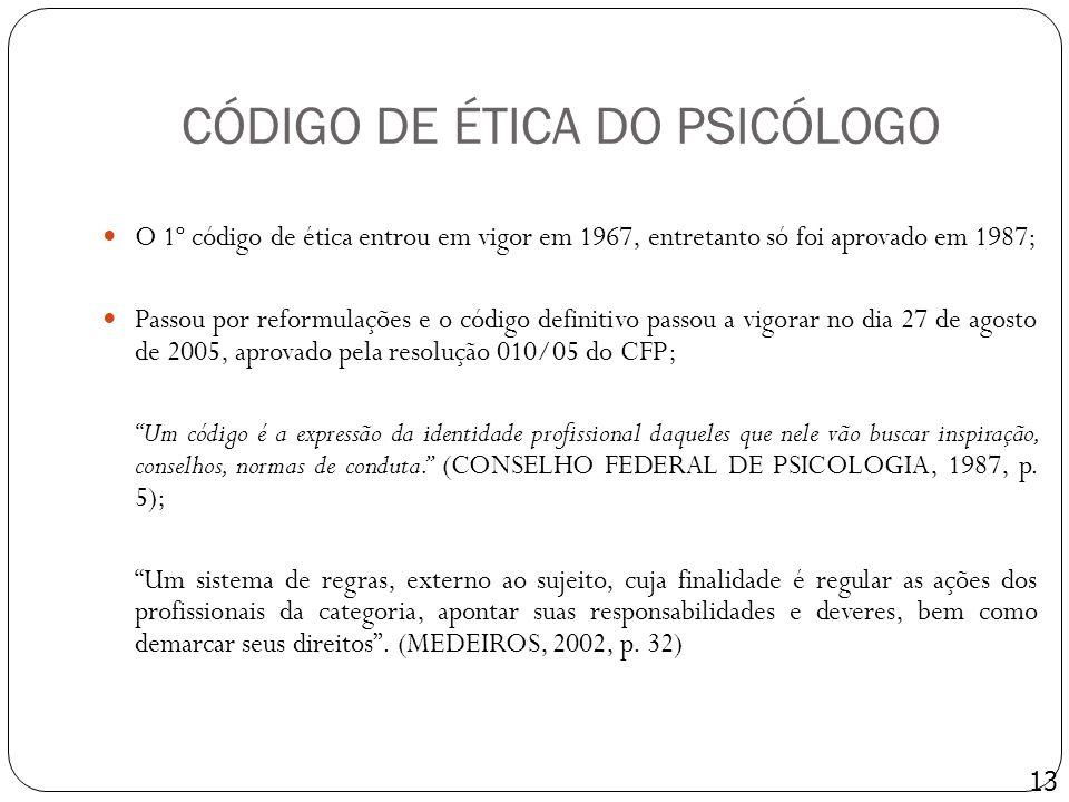 CÓDIGO DE ÉTICA DO PSICÓLOGO O 1º código de ética entrou em vigor em 1967, entretanto só foi aprovado em 1987; Passou por reformulações e o código def