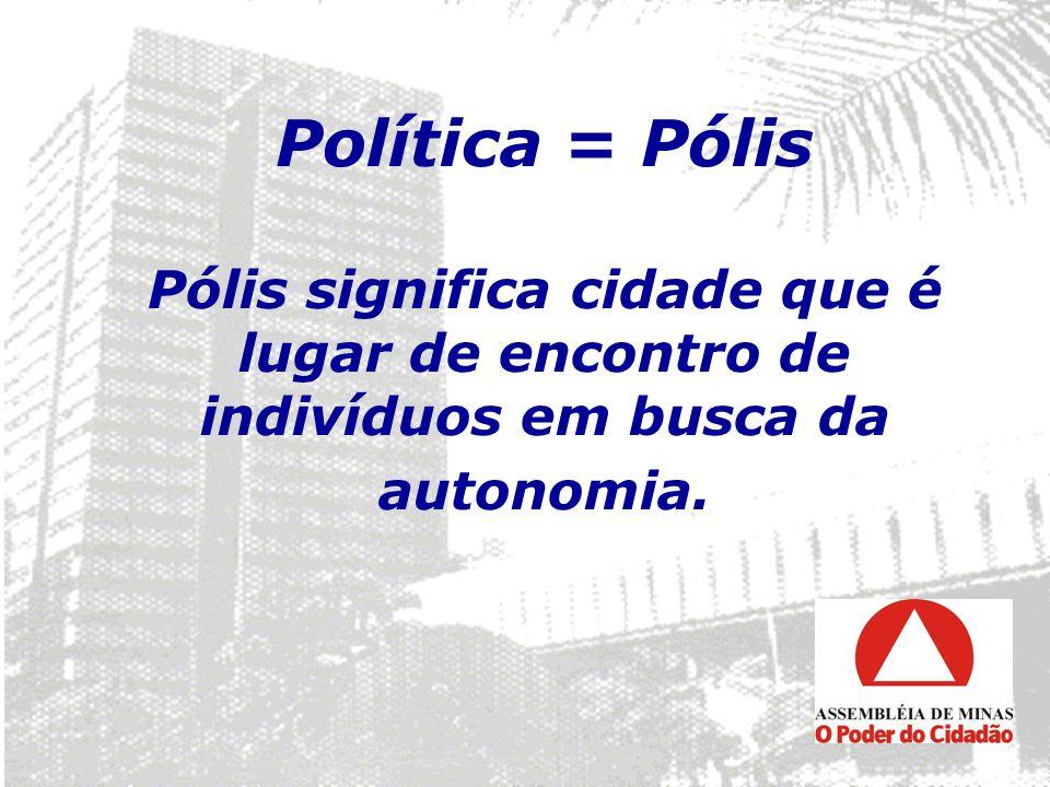 Política = Pólis Pólis significa cidade que é lugar de encontro de indivíduos em busca da autonomia.