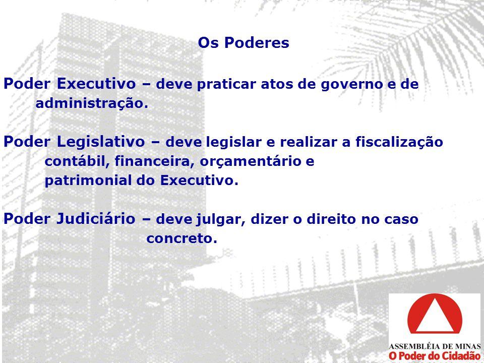Os Poderes Poder Executivo – deve praticar atos de governo e de administração. Poder Legislativo – deve legislar e realizar a fiscalização contábil, f