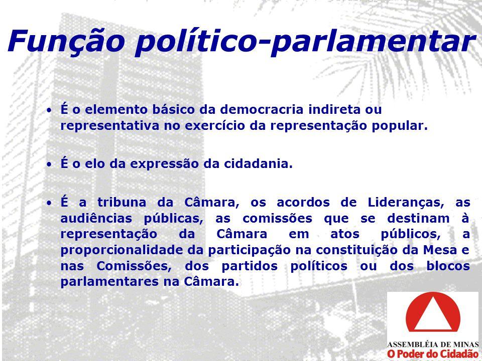 Função político-parlamentar É o elemento básico da democracria indireta ou representativa no exercício da representação popular. É o elo da expressão