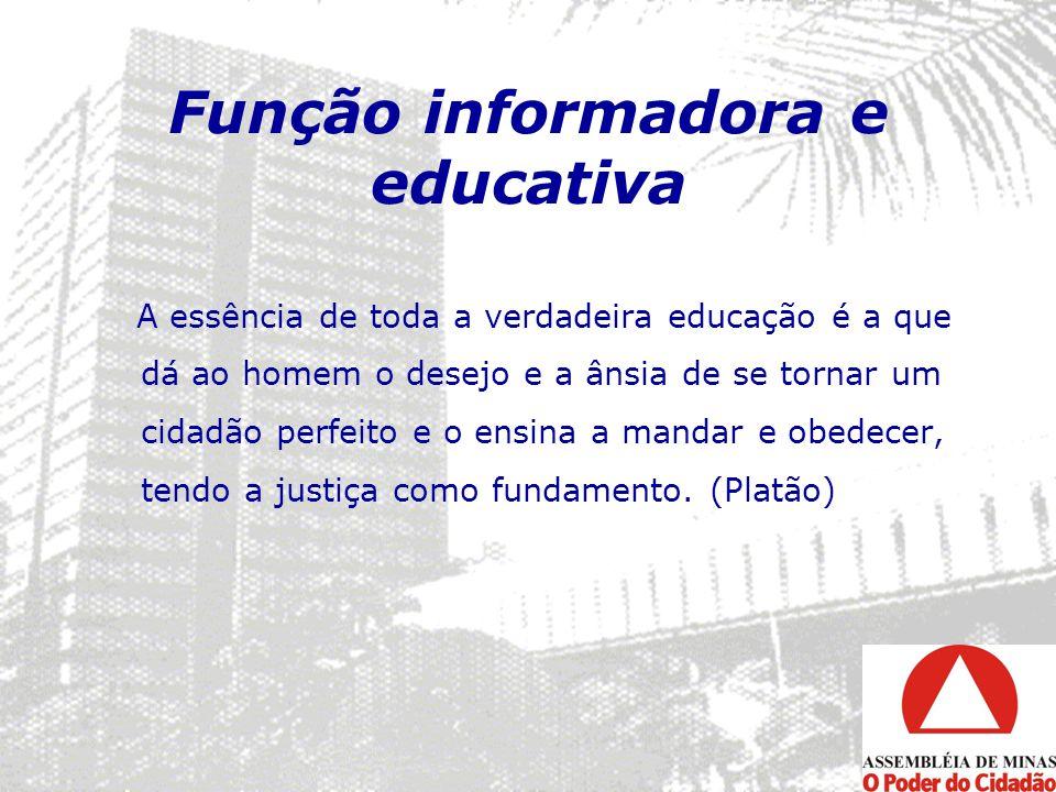 Função informadora e educativa A essência de toda a verdadeira educação é a que dá ao homem o desejo e a ânsia de se tornar um cidadão perfeito e o en