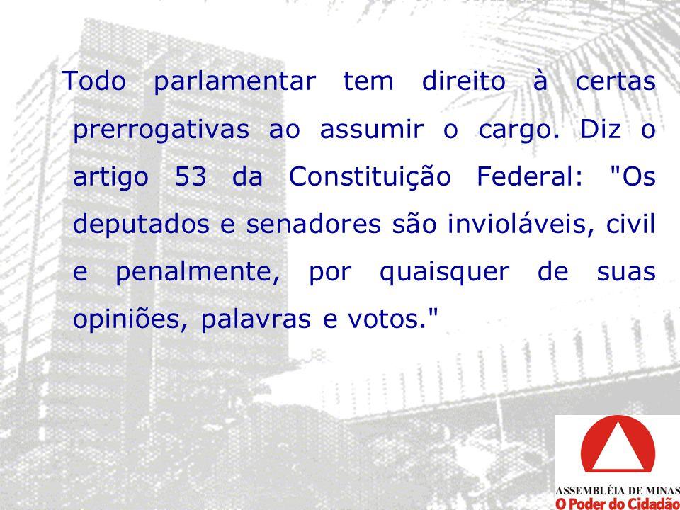 Todo parlamentar tem direito à certas prerrogativas ao assumir o cargo. Diz o artigo 53 da Constituição Federal: