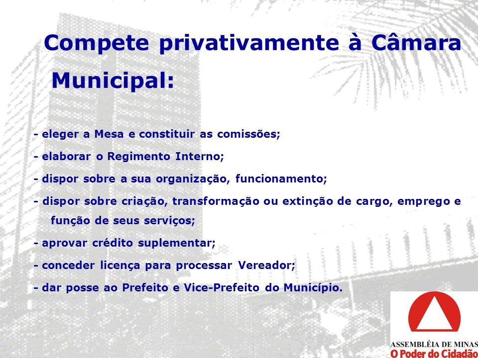 Compete privativamente à Câmara Municipal: - eleger a Mesa e constituir as comissões; - elaborar o Regimento Interno; - dispor sobre a sua organização