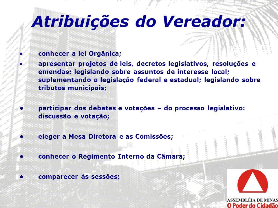 Atribuições do Vereador: conhecer a lei Orgânica; apresentar projetos de leis, decretos legislativos, resoluções e emendas: legislando sobre assuntos