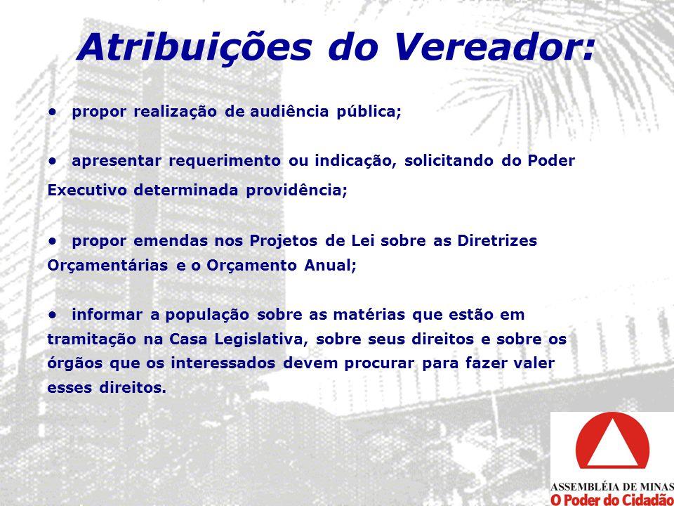 Atribuições do Vereador: propor realização de audiência pública; apresentar requerimento ou indicação, solicitando do Poder Executivo determinada prov