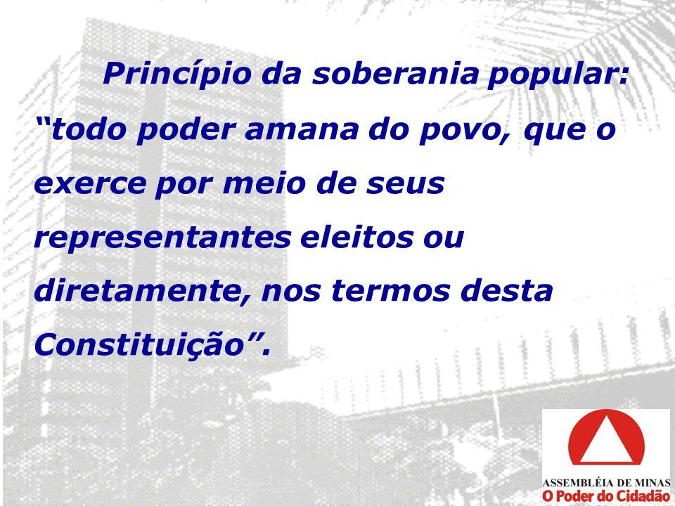 Princípio da soberania popular: todo poder amana do povo, que o exerce por meio de seus representantes eleitos ou diretamente, nos termos desta Consti