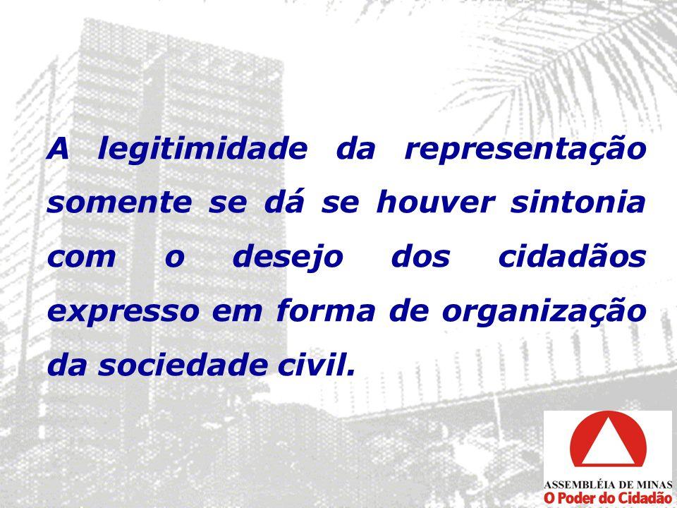 A legitimidade da representação somente se dá se houver sintonia com o desejo dos cidadãos expresso em forma de organização da sociedade civil.