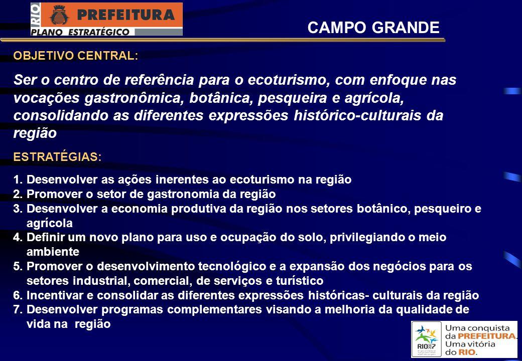 OBJETIVO CENTRAL: Ser o centro de referência para o ecoturismo, com enfoque nas vocações gastronômica, botânica, pesqueira e agrícola, consolidando as diferentes expressões histórico-culturais da região ESTRATÉGIAS: 1.
