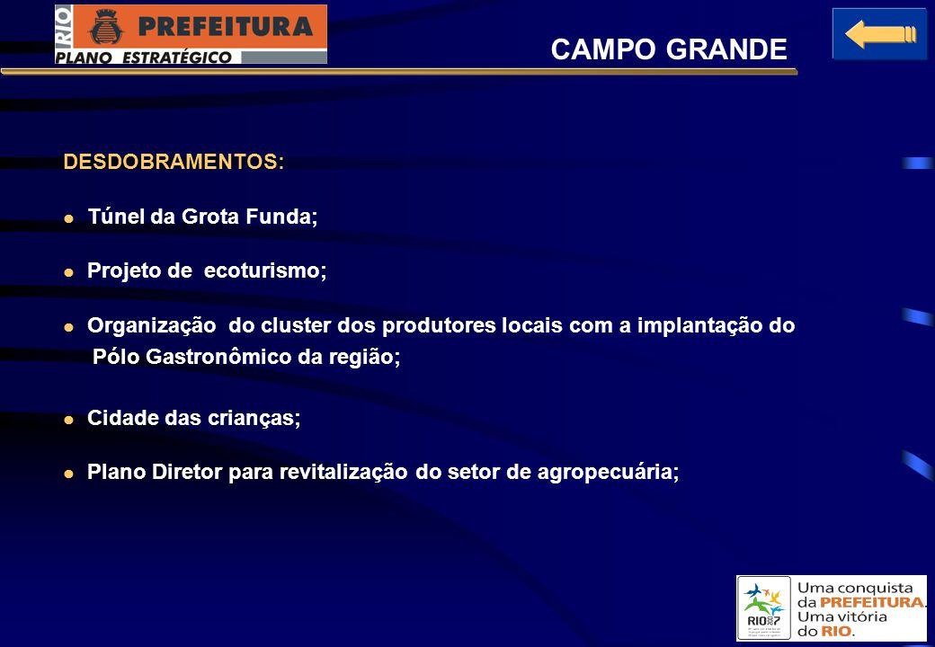 DESDOBRAMENTOS: Túnel da Grota Funda; Projeto de ecoturismo; Organização do cluster dos produtores locais com a implantação do Pólo Gastronômico da região; Cidade das crianças; Plano Diretor para revitalização do setor de agropecuária; CAMPO GRANDE