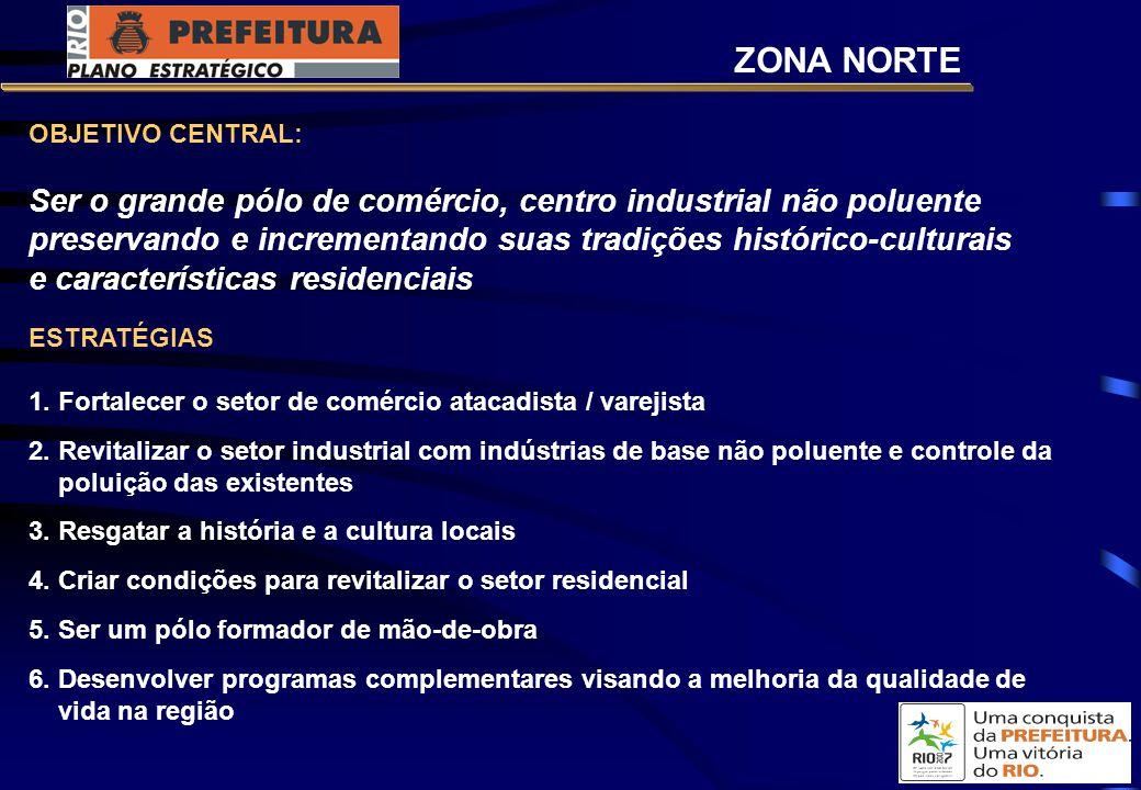 OBJETIVO CENTRAL: Ser o grande pólo de comércio, centro industrial não poluente preservando e incrementando suas tradições histórico-culturais e características residenciais ESTRATÉGIAS 1.