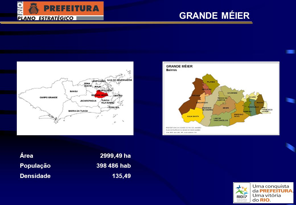 Área2999,49 ha População398 486 hab Densidade135,49 GRANDE MÉIER