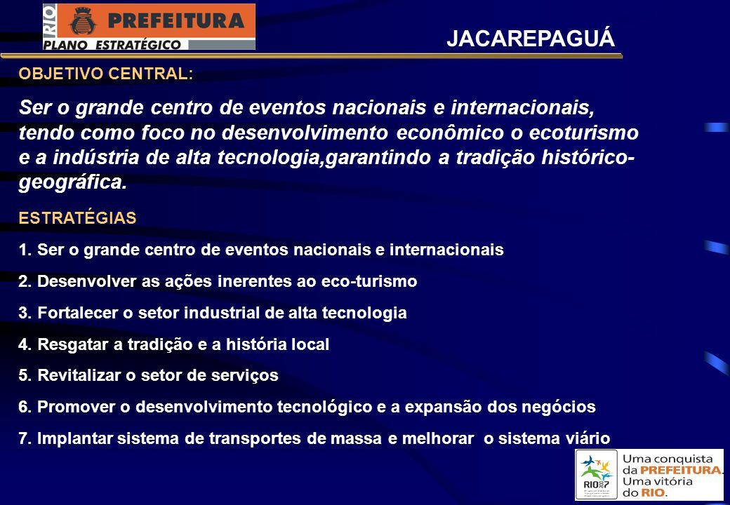 OBJETIVO CENTRAL: Ser o grande centro de eventos nacionais e internacionais, tendo como foco no desenvolvimento econômico o ecoturismo e a indústria de alta tecnologia,garantindo a tradição histórico- geográfica.