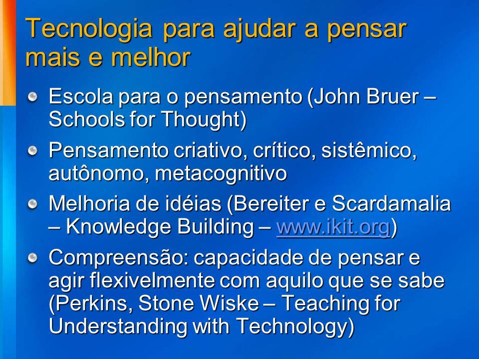 Tecnologia para ajudar a pensar mais e melhor Escola para o pensamento (John Bruer – Schools for Thought) Pensamento criativo, crítico, sistêmico, aut