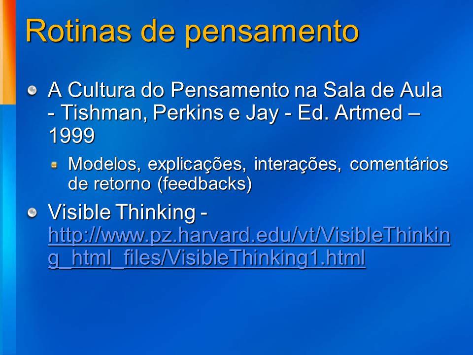 Rotinas de pensamento A Cultura do Pensamento na Sala de Aula - Tishman, Perkins e Jay - Ed. Artmed – 1999 Modelos, explicações, interações, comentári