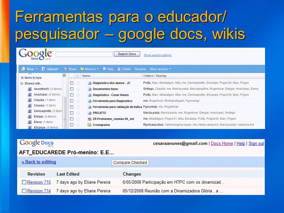 Ferramentas para o educador/ pesquisador – google docs, wikis