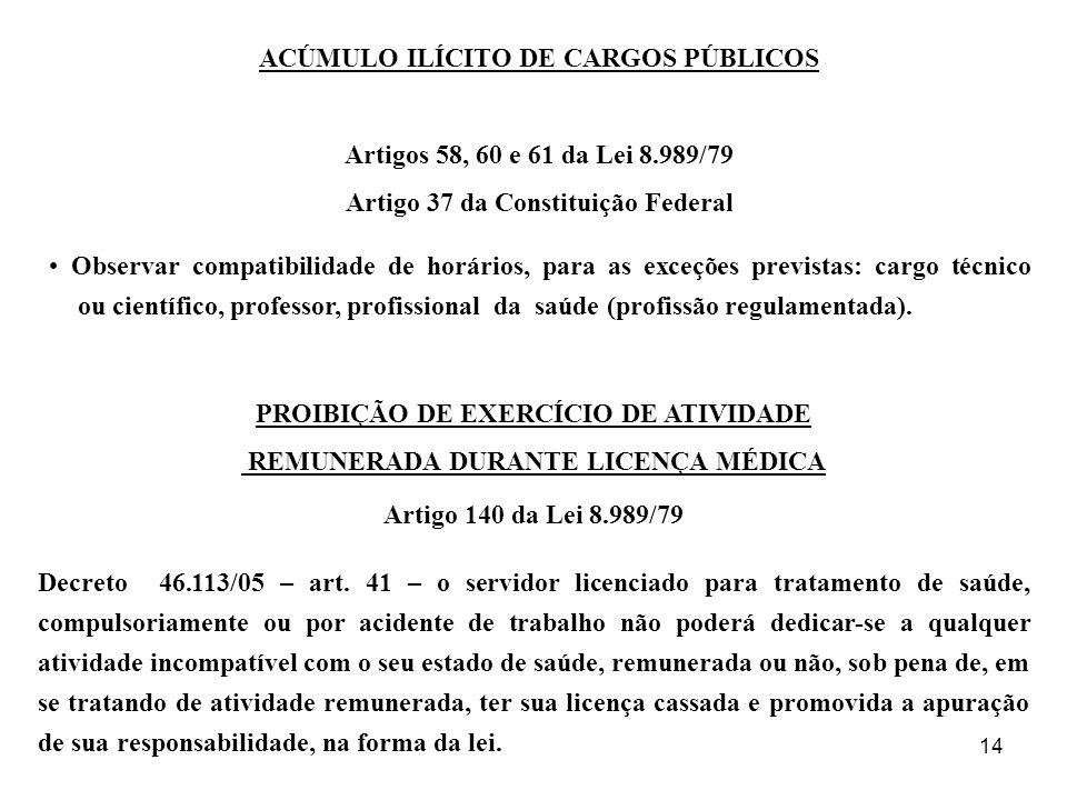 14 ACÚMULO ILÍCITO DE CARGOS PÚBLICOS Artigos 58, 60 e 61 da Lei 8.989/79 Artigo 37 da Constituição Federal Observar compatibilidade de horários, para