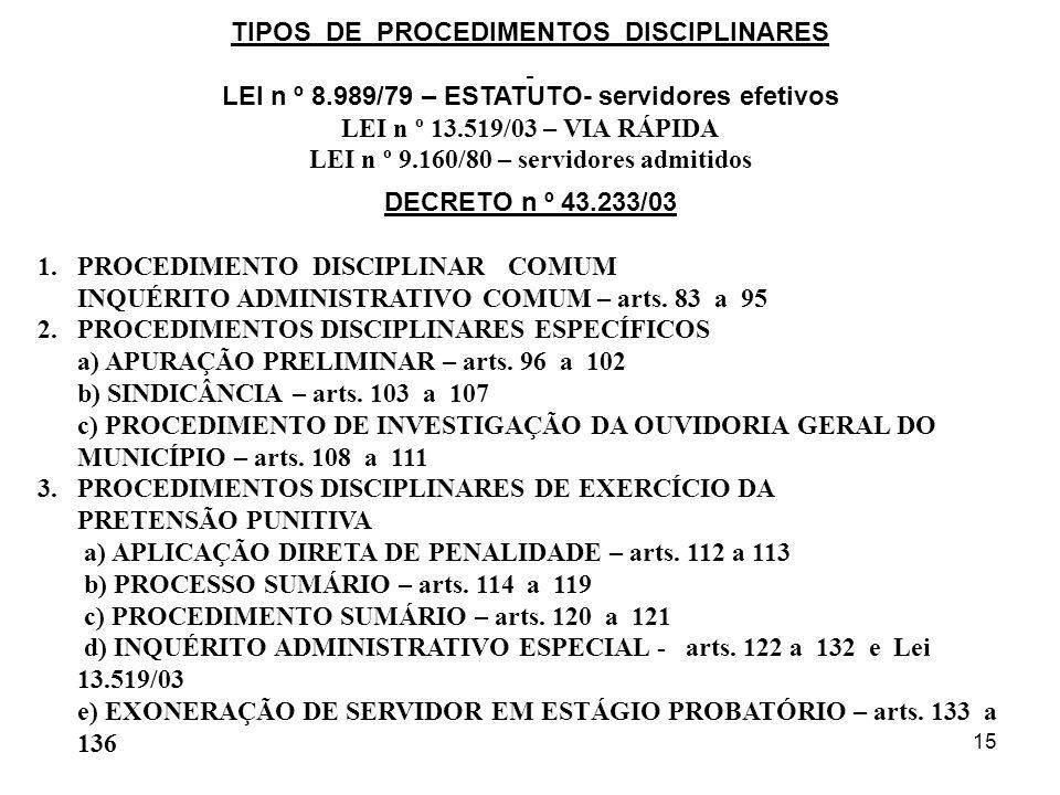 15 TIPOS DE PROCEDIMENTOS DISCIPLINARES LEI n º 8.989/79 – ESTATUTO- servidores efetivos LEI n º 13.519/03 – VIA RÁPIDA LEI n º 9.160/80 – servidores admitidos DECRETO n º 43.233/03 1.PROCEDIMENTO DISCIPLINAR COMUM INQUÉRITO ADMINISTRATIVO COMUM – arts.