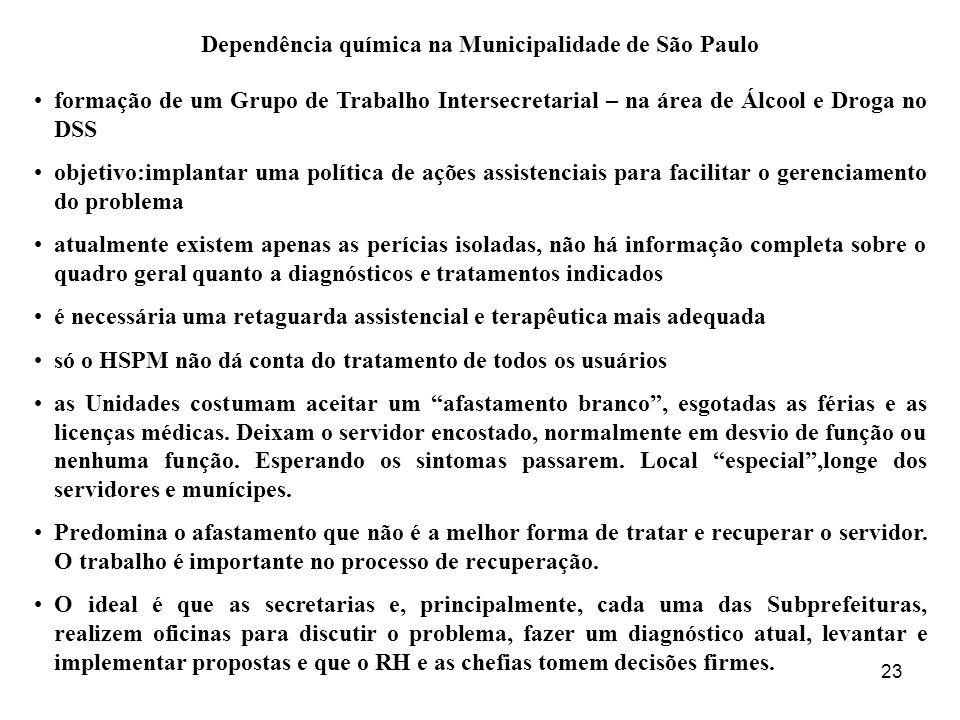 23 Dependência química na Municipalidade de São Paulo formação de um Grupo de Trabalho Intersecretarial – na área de Álcool e Droga no DSS objetivo:im