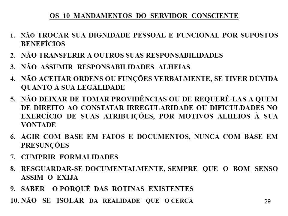 29 OS 10 MANDAMENTOS DO SERVIDOR CONSCIENTE 1.NÃO TROCAR SUA DIGNIDADE PESSOAL E FUNCIONAL POR SUPOSTOS BENEFÍCIOS 2.NÃO TRANSFERIR A OUTROS SUAS RESP